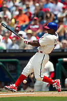 Philadelphia Phillies outfielder Juan Pierre #10 swings during the Major League Baseball game against the Pittsburgh Pirates on June 28, 2012 at Citizens Bank Park in Philadelphia, Pennsylvania. The Pirates defeated the Phillies 5-4. (Andrew Woolley/Four Seam Images).
