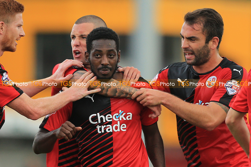Roarie Deacon of Crawley Town is mobbed by team mates after scoring the equaliser during Crawley Town vs Leyton Orient, Sky Bet League 2 Football at Broadfield Stadium, Crawley, England on 10/10/2015