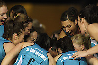 The Thunderbirds huddle before the match during the ANZ Netball Championship match between the Waikato Bay of Plenty Magic and Adelaide Thunderbirds, Mystery Creek Events Centre, Hamilton, New Zealand on Sunday 19 July 2009. Photo: Dave Lintott / lintottphoto.co.nz