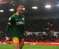 Preston North End's Brad Potts celebrates scoring his side's second goal with team-mate Sean Maguire<br /> <br /> Photographer Stephen White/CameraSport<br /> <br /> The EFL Sky Bet Championship - Stoke City v Preston North End - Saturday 26th January 2019 - bet365 Stadium - Stoke-on-Trent<br /> <br /> World Copyright © 2019 CameraSport. All rights reserved. 43 Linden Ave. Countesthorpe. Leicester. England. LE8 5PG - Tel: +44 (0) 116 277 4147 - admin@camerasport.com - www.camerasport.com
