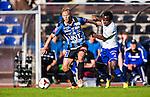 Uppsala 2014-06-26 Fotboll Superettan IK Sirius - IFK V&auml;rnamo :  <br /> Sirius Christer Gustafsson i kamp om bollen med V&auml;rnamos Herve Tchami <br /> (Foto: Kenta J&ouml;nsson) Nyckelord:  Superettan Sirius IKS Studenternas IFK V&auml;rnamo