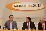 The Prime Minister of Spain, Mariano Rajoy (l) and the President of FAES foundation (foundation for the analysis and social studies), José María Aznar, have closed the ninth edition of Campus FAES, which took place in the town of Navacerrada, Madrid.July 7,2012. (ALTERPHOTOS/Alberto Simon)