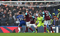 Chelsea's Cesar Azpilicueta scores his side's first goal  <br /> <br /> Photographer Rob Newell/CameraSport<br /> <br /> The Premier League - Chelsea v West Ham United - Sunday 8th April 2018 - Stamford Bridge - London<br /> <br /> World Copyright &copy; 2018 CameraSport. All rights reserved. 43 Linden Ave. Countesthorpe. Leicester. England. LE8 5PG - Tel: +44 (0) 116 277 4147 - admin@camerasport.com - www.camerasport.com
