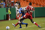 Aug 22 2007:  Bakary Soumare (4) of the Fire strips the ball from Yura Movsisyan of the Wizards.  The MLS Kansas City Wizards defeated the visiting Chicago Fire 3-2 at Arrowhead Stadium in Kansas City, Missouri, in a regular season league soccer match.