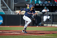 Taylor Jackson (15) of the Illinois Fighting Illini starts down the first base line against the Coastal Carolina Chanticleers at Springs Brooks Stadium on February 22, 2020 in Conway, South Carolina. The Fighting Illini defeated the Chanticleers 5-2. (Brian Westerholt/Four Seam Images)