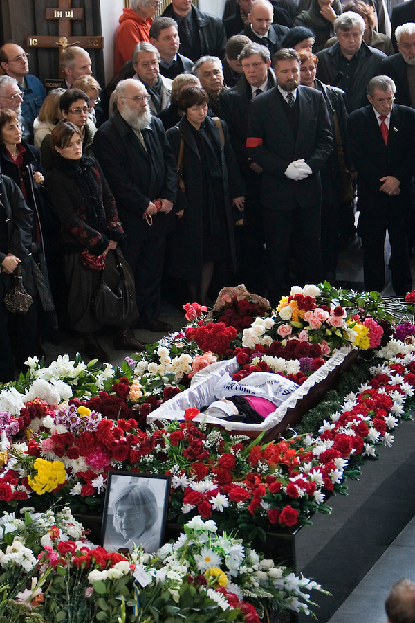 Moscow, Russia, 10/10/2006.Memorial service for Anna Politkovskaya, Novaya Gazyeta journalist murdered in an apparent contract killing believed to be connected with her work.