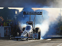 Jul 8, 2016; Joliet, IL, USA; NHRA top fuel driver Antron Brown during qualifying for the Route 66 Nationals at Route 66 Raceway. Mandatory Credit: Mark J. Rebilas-USA TODAY Sports