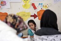 Pictured: Students in the class Monday 06 February 2017<br /> Re: A school teaching the English language has been operating at the migrant camp located in the former airport in the outskirts of Athens, Greece.