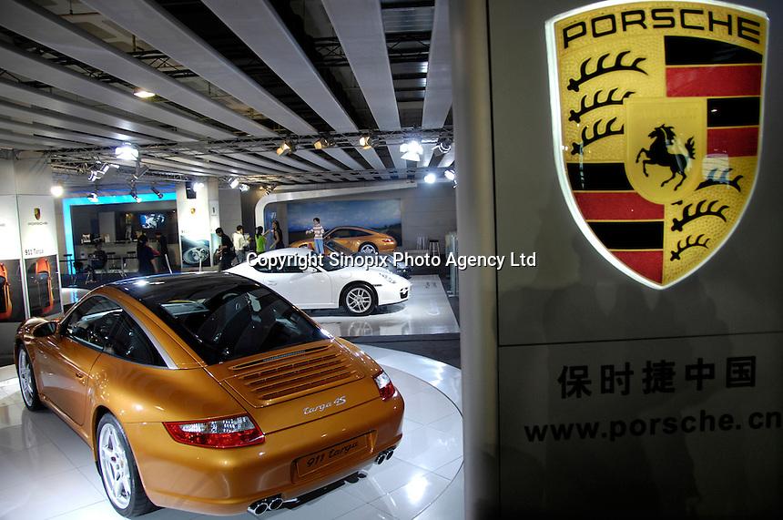 Porsche stand at the 2006 International Automotive Exhibition in Beijing..25 Nov 2006