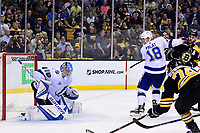 May 2, 2018: Tampa Bay Lightning goaltender Andrei Vasilevskiy (88) makes a save during game three of the second round of the National Hockey League's Eastern Conference Stanley Cup playoffs between the Tampa Bay Lightning and the Boston Bruins held at TD Garden, in Boston, Mass. Tampa Bay defeats Boston 4-1. Eric Canha/CSM