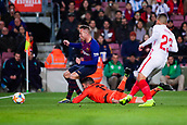30th January 2019, Camp Nou, Barcelona, Spain; Copa del Rey football, quarter final, second leg, Barcelona versus Sevilla; Arthur Melo of FC Barcelona almost gets the ball around goalkeeper Juan Soriano of Sevilla CF