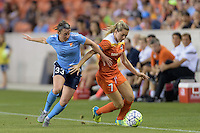 Kealia Ohai (7) of the Houston Dash battles with Erin Simon (33) of Sky Blue FC for the ball on Friday, April 29, 2016 at BBVA Compass Stadium in Houston Texas. The Houston Dynamo and Sky Blue FC tied 0-0.