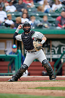 Wisconsin Timber Rattlers catcher Nathan Rodriguez (9) throws to first base during a game against the Fort Wayne TinCaps on May 10, 2017 at Parkview Field in Fort Wayne, Indiana.  Fort Wayne defeated Wisconsin 3-2.  (Mike Janes/Four Seam Images)