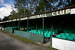The main stand pictured before Nelson hosted Daisy Hill in a North West Counties League first division north fixture at Victoria Park. Founded in 1881, the home club were members of the Football League from 1921-31 and has played at their current ground, known as Little Wembley, since 1971. The visitors won this fixture 6-3, watched by an attendance of 78.