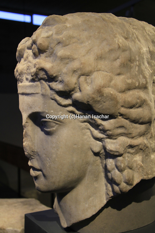 Israel, Jerusalem, head of Dionysus from Beth Shean, 2nd century AD, at the Israel Museum