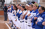 The Wildcats listen to the National Anthem before a game against College of Southern Idaho in Carson City, Nev., on Friday, Feb. 27, 2015. <br /> Photo by Cathleen Allison/Nevada Photo Source