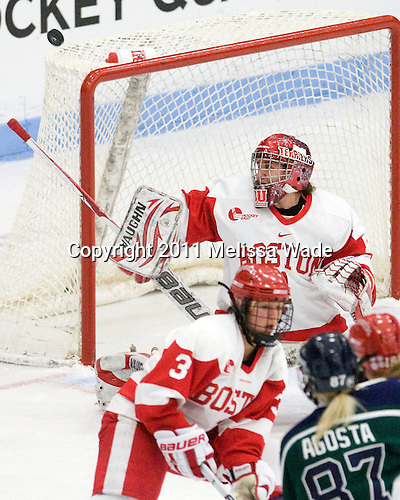 Kerrin Sperry (BU - 1) - The Boston University Terriers defeated the visiting Mercyhurst College Lakers 4-2 in their NCAA Quarterfinal matchup on Saturday, March 12, 2011, at Walter Brown Arena in Boston, Massachusetts.