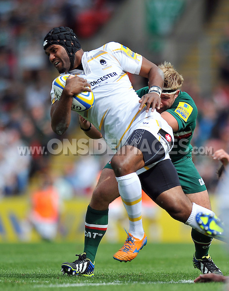 Josh Drauniniu in possession. Aviva Premiership match, between Leicester Tigers and Worcester Warriors on September 8, 2013 at Welford Road in Leicester, England. Photo by: Patrick Khachfe / JMP