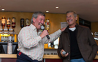 Joe Flaherty & Murray Mexted (Former New Zealand All Blacks Player) enjoy a joke in the hospitality lounge during the Greene King IPA Championship match between London Scottish Football Club and Jersey at Richmond Athletic Ground, Richmond, United Kingdom on 7 November 2015. Photo by Andy Rowland.