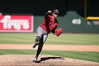 Arizona Diamondbacks relief pitcher Emilio Vargas (18) follows through on his delivery during an Instructional League game against the Kansas City Royals at Chase Field on October 14, 2017 in Phoenix, Arizona. (Zachary Lucy/Four Seam Images)