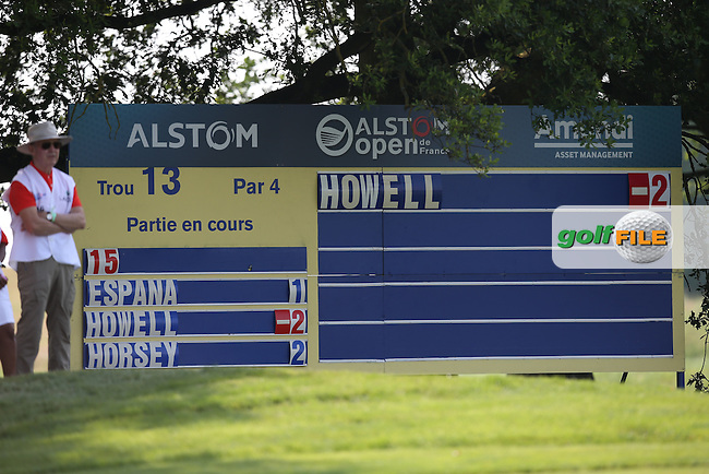 Early doors, but David Howell (ENG) makes his move on the leaderboard after two holes  during Round One of the 2015 Alstom Open de France, played at Le Golf National, Saint-Quentin-En-Yvelines, Paris, France. /02/07/2015/. Picture: Golffile | David Lloyd<br /> <br /> All photos usage must carry mandatory copyright credit (&copy; Golffile | David Lloyd)