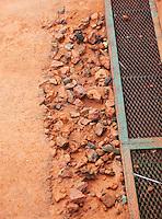 4-3-09,Argentina, Buenos Aires, Daviscup  Argentina-Netherlands, Rain, Zelfs de bovenlaag van het gravel spoelt weg en maakt het lavasteen zichtbaar