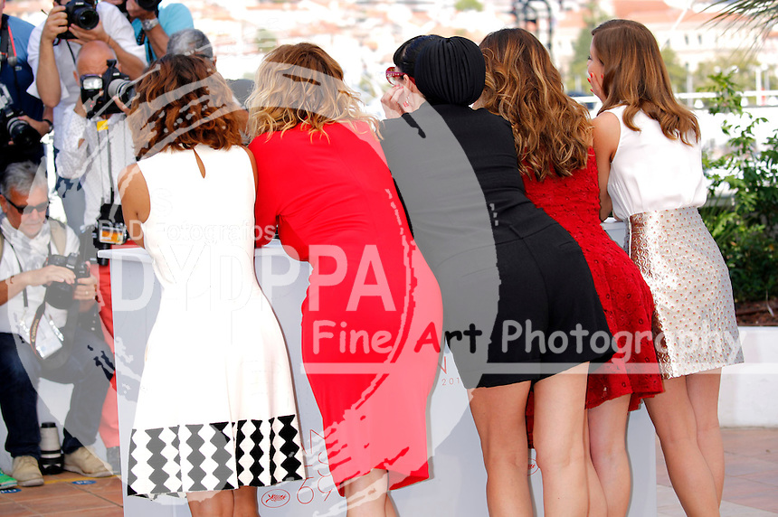 Inma Cuesta, Emma Suarez, Rossy De Palma, Adriana Ugarte and Michelle Jenner at the 'Julieta' photocall during the 69th Cannes Film Festival at the Palais des Festivals on May 17, 2016