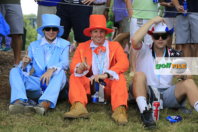 Colourful fans at the 15th green during Saturday's Round 3 of the 2017 PGA Championship held at Quail Hollow Golf Club, Charlotte, North Carolina, USA. 12th August 2017.<br /> Picture: Eoin Clarke | Golffile<br /> <br /> <br /> All photos usage must carry mandatory copyright credit (&copy; Golffile | Eoin Clarke)