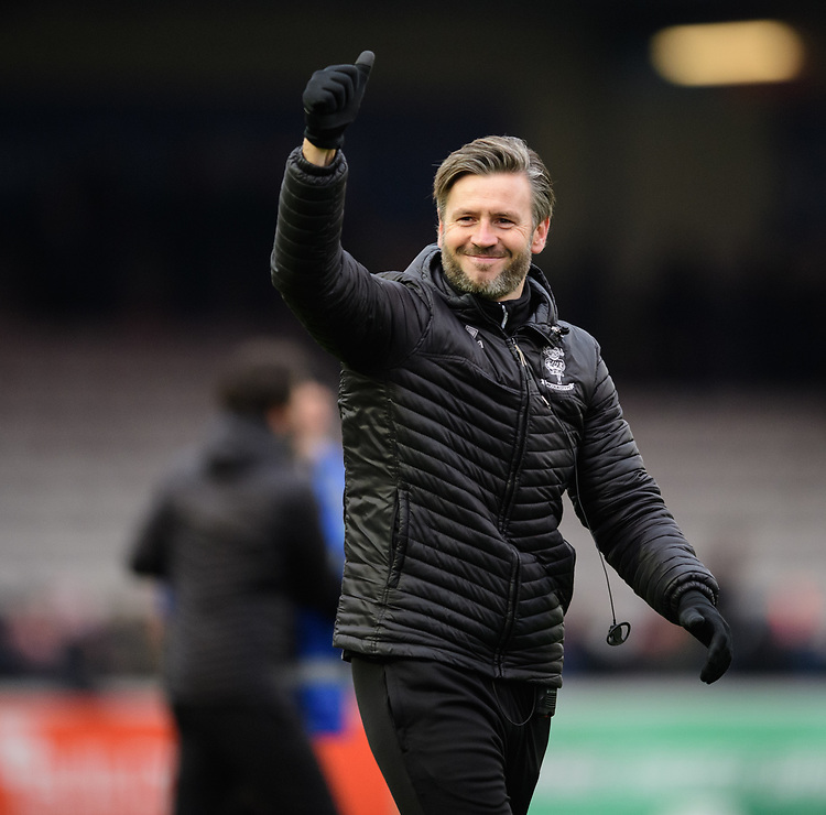Lincoln City's assistant manager Nicky Cowley celebrates at the end of the game<br /> <br /> Photographer Chris Vaughan/CameraSport<br /> <br /> The EFL Sky Bet League Two - Lincoln City v Grimsby Town - Saturday 19 January 2019 - Sincil Bank - Lincoln<br /> <br /> World Copyright &copy; 2019 CameraSport. All rights reserved. 43 Linden Ave. Countesthorpe. Leicester. England. LE8 5PG - Tel: +44 (0) 116 277 4147 - admin@camerasport.com - www.camerasport.com