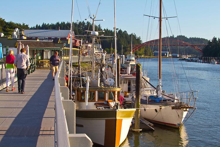 La Conner, Waterfront Boardwalk, Swinomish Channel,  Skagit County, Washington State,