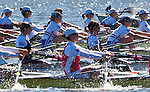 Rowing, Women's quad race, heat Monday 1 November, Start Area, Romania in foreground, 2010 FISA World Rowing Championships, Lake Karapiro, Hamilton, New Zealand,