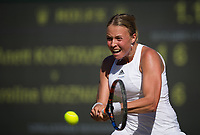 Anett Kontaveit of Estonia in action during her defeat by Caroline Wozniacki of Denmark in their Ladies' Singles Third Round Match today - Wozniacki def Kontaveit 3-6, 7-6, 6-2<br /> <br /> Photographer Ashley Western/CameraSport<br /> <br /> Wimbledon Lawn Tennis Championships - Day 6 - Saturday 8th July 2017 -  All England Lawn Tennis and Croquet Club - Wimbledon - London - England<br /> <br /> World Copyright &not;&uml;&not;&copy; 2017 CameraSport. All rights reserved. 43 Linden Ave. Countesthorpe. Leicester. England. LE8 5PG - Tel: +44 (0) 116 277 4147 - admin@camerasport.com - www.camerasport.com