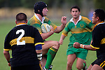 Drury lock R. Johnson braces for the tackle of S. Katoa. Counties Manukau Premier Club Rugby, Drury vs Bombay played at the Drury Domain, on the 14th of April 2006. Bombay won 34 - 13.