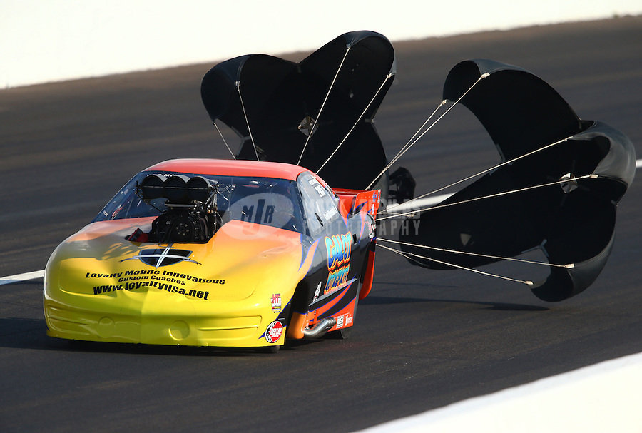 Aug. 30, 2013; Clermont, IN, USA: NHRA pro mod driver Kevin Rivenbark during qualifying for the US Nationals at Lucas Oil Raceway. Mandatory Credit: Mark J. Rebilas-