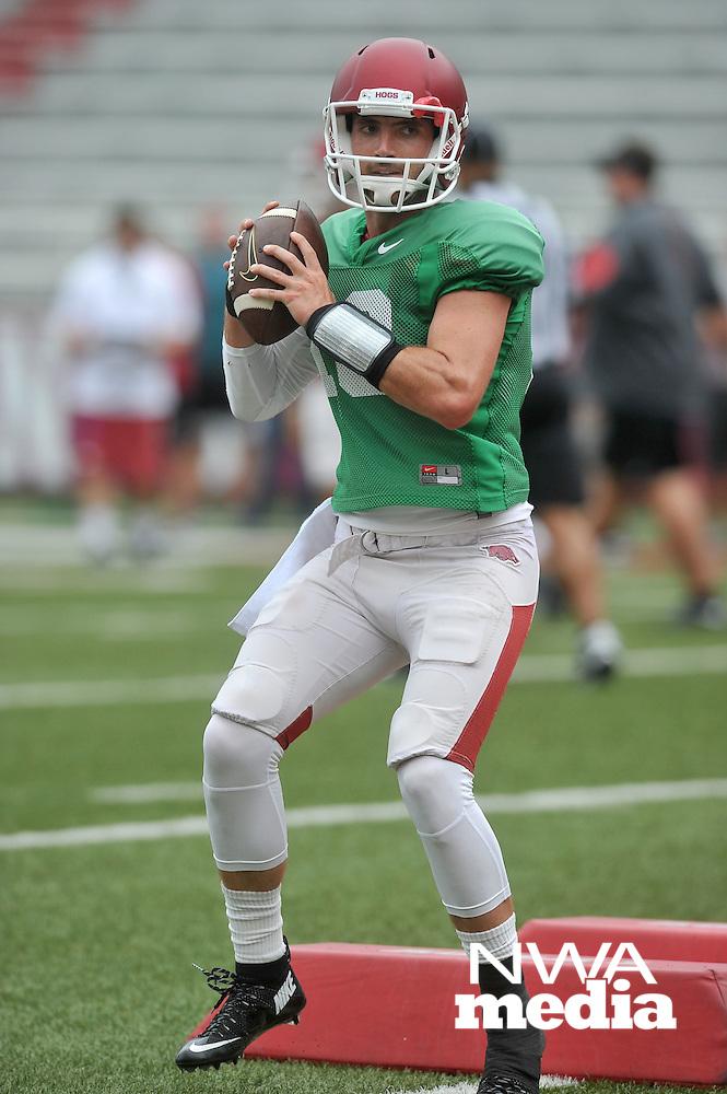 NWA Democrat-Gazette/MICHAEL WOODS &bull; @NWAMICHAELW<br /> University of Arkansas quarterback Brandon Allen runs drills during practice Saturday August 22, 2015 at Razorback Stadium in Fayetteville.