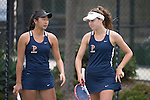April 25, 2014; San Diego, CA, USA; Pepperdine Waves player Yuki Chiang (left) and Michaela Capannolo (right) during the WCC Tennis Championships at Barnes Tennis Center.