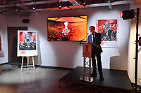 Picture by Simon Wilkinson/SWpix.com - 09/11/2018 - RLWC 2021 Rugby League World Cup 2021 Paul Barrière Trophy - The Cockerel Reveal, Avenue HQ. Leeds<br /> - Professer Tony Collins