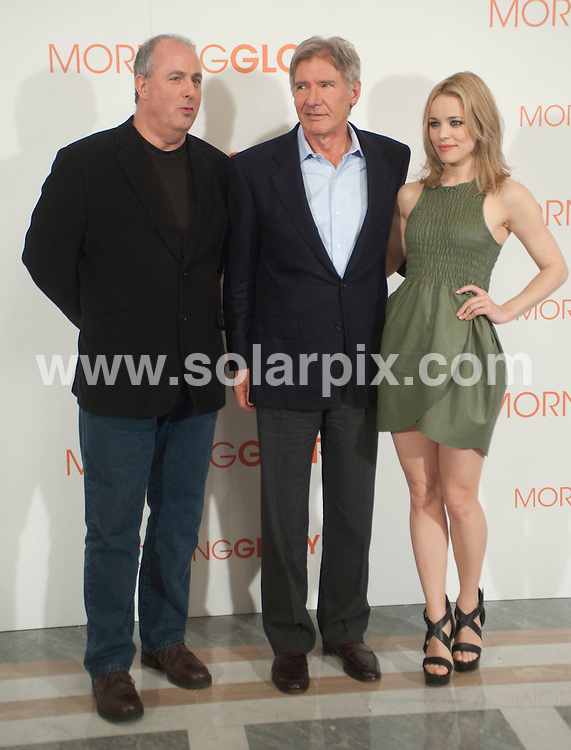 **ALL ROUND PICTURES FROM SOLARPIX.COM**                                             **WORLDWIDE SYNDICATION RIGHTS EXCEPT SPAIN & SOUTH AMERICA - NO SYNDICATION IN SPAIN OR SOUTH AMERICA**                                                                                  Caption: Madrid photocall for the new film release Morning Glory. Madrid, Spain. 13 January 2011                                                                              This pic: Roger Michell, Harrison Ford and Rachel McAdams                                                                                             JOB REF: 12661 MPA       DATE: 13_01_2011                                                           **MUST CREDIT SOLARPIX.COM OR DOUBLE FEE WILL BE CHARGED**                                                                      **MUST AGREE FEE BEFORE ONLINE USAGE**                               **CALL US ON: +34 952 811 768 or LOW RATE FROM UK 0844 617 7637**