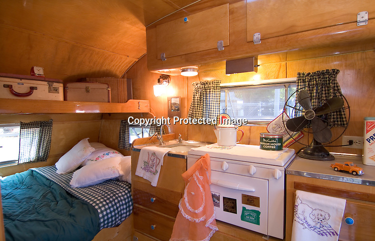 Interior of a 1954 Cardinal vintage travel trailer canned ham.