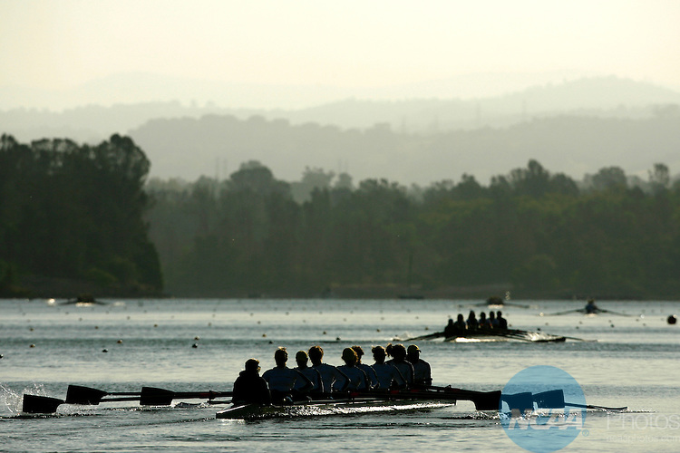 01 JUN 2008:  Rowers from the University of Michigan head out for an early morning practice run prior to the start of the 2008 NCAA Division I Women's Rowing Championship held at Lake Natoma in Gold River, CA.  Trevor Brown, Jr./NCAA Photos.