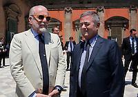 Repubblica delle idee Napoli<br /> nella foto   Aurelio De Laurentiis   Ezio Mauro <br /> foto Ciro De Luca