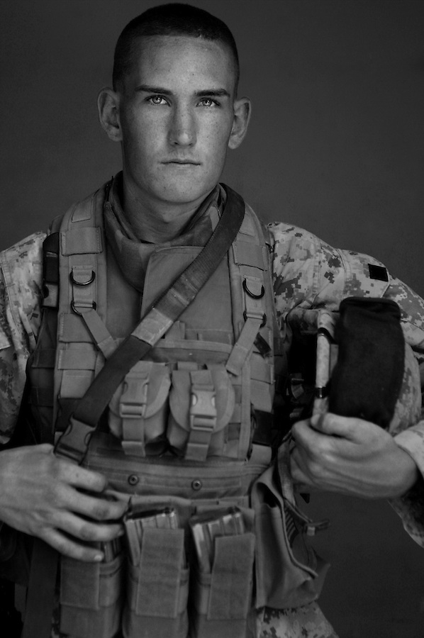 PFC Matthew Graham, 19, Pinole, California. 3rd Platoon, Kilo Company, 3rd Battalion, 1st Marine Regiment, 1st Marine Division, United States Marine Corps, at the company's firm base in Hit, Iraq on Friday Sept. 23, 2005.