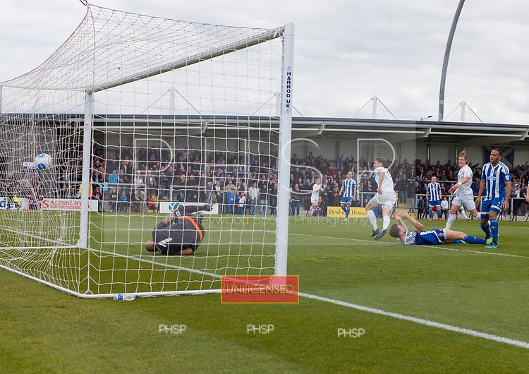 29/04/2017 Vandarama National League North AFC Fylde v Worcester City<br /> <br /> Matt Blinkhorn scores AFC Fylde's opening goal