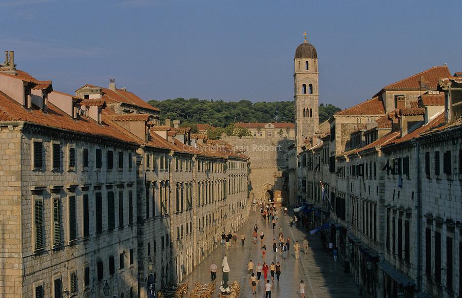 "The ""Stradun"", main street of the old Dubrovnik. Croatia"