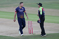 Matt Coles of Essex speaks to umpire Mike Burns after being called for a wide during Kent Spitfires vs Essex Eagles, Vitality Blast T20 Cricket at the St Lawrence Ground on 2nd August 2018