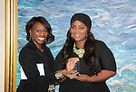 Color of Beauty Awards host VH1's Gossip Table's Delaina Dixon poses with Ashunta Sheriff (celebrity Makeup artist) who was honored on February 28, 2015 with red carpet, awards and cocktail reception at Ana Tzarev Gallery, New York City, New York.  (Photo by Sue Coflin/Max Photos)