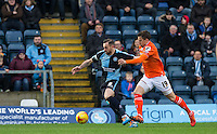 Paul Hayes of Wycombe Wanderers holds off Oliver Lee of Luton Town during the Sky Bet League 2 match between Wycombe Wanderers and Luton Town at Adams Park, High Wycombe, England on 6 February 2016. Photo by Andy Rowland.