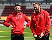 Fleetwood Town players Wes Burns and Chris Neal inspect the pitch on arrival at the Sixfields Stadium<br /> <br /> Photographer Andrew Kearns/CameraSport<br /> <br /> The EFL Sky Bet League One - Northampton Town v Fleetwood Town - Saturday August 12th 2017 - Sixfields Stadium - Northampton<br /> <br /> World Copyright &copy; 2017 CameraSport. All rights reserved. 43 Linden Ave. Countesthorpe. Leicester. England. LE8 5PG - Tel: +44 (0) 116 277 4147 - admin@camerasport.com - www.camerasport.com