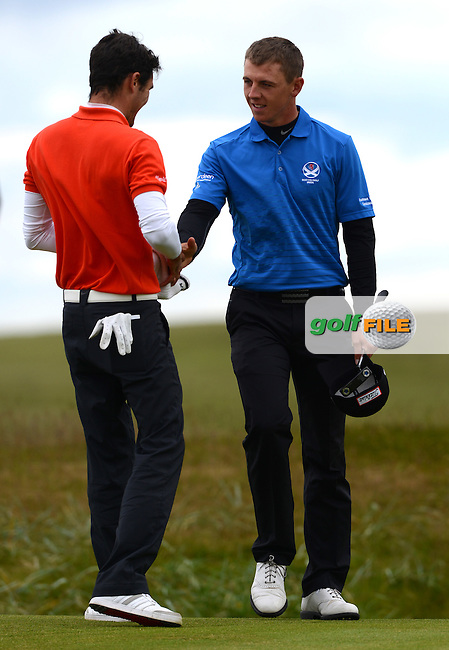 Alexandre Daydou of France congratulates Grant Forrest of Craigielaw (R) on his victory during the Semi-Finals of the 120th Amateur Championship at Carnoustie Golf Links, Carnoustie, Scotland. Picture: Golffile | Richard Martin Roberts<br /> All photo usage must carry mandatory copyright credit (&copy; Golffile | Richard Martin Roberts)