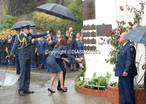 &quot;NO UK USE FOR 28 DAYS (14May 2014)&quot;<br /> KATE AND PRINCE WILLIAM<br /> visited the Royal New Zealand Police College in Porirua near Wellington. The royal couple met  with new recruits and paid their respects to officers killed on duty<br /> They were also shown a couple of polce puppies that were two weels old.<br /> The weather was unkind to them once again with torrenential rain being the order of the day._16/04/2014<br /> Mandatory Photo Credit: &copy;DiasImages<br /> <br /> **ALL FEES PAYABLE TO: &quot;NEWSPIX INTERNATIONAL&quot;**<br /> <br /> PHOTO CREDIT MANDATORY!!: NEWSPIX INTERNATIONAL(Failure to credit will incur a surcharge of 100% of reproduction fees)<br /> <br /> IMMEDIATE CONFIRMATION OF USAGE REQUIRED:<br /> Newspix International, 31 Chinnery Hill, Bishop's Stortford, ENGLAND CM23 3PS<br /> Tel:+441279 324672  ; Fax: +441279656877<br /> Mobile:  0777568 1153<br /> e-mail: info@newspixinternational.co.uk